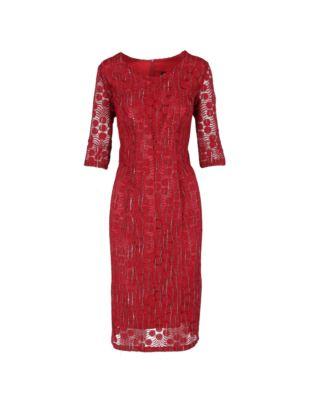 Sukienka koronkowa 0230 bordowa 52